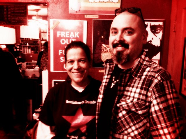 Revolutionary Grounds owner, Joy Solero and myself and the ¡Ban This! fundraiser.